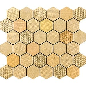 Gold Ottoman Textile Blend Hexagon 2 Marble Mosaics 10 3/8x12