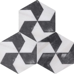 Fantasy White Diced Polygons Marble Tiles 8x8