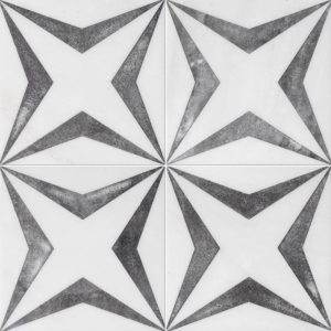 Fantasy White Diced Stars Marble Tiles 8x8