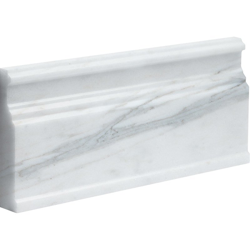 Calacatta Gold Royal Honed Modern Base Marble Moldings 5 1/16×12