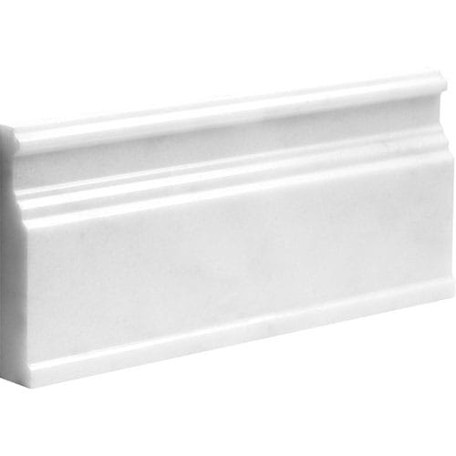 Elegant White Polished Base Marble Moldings 5 1/16x12