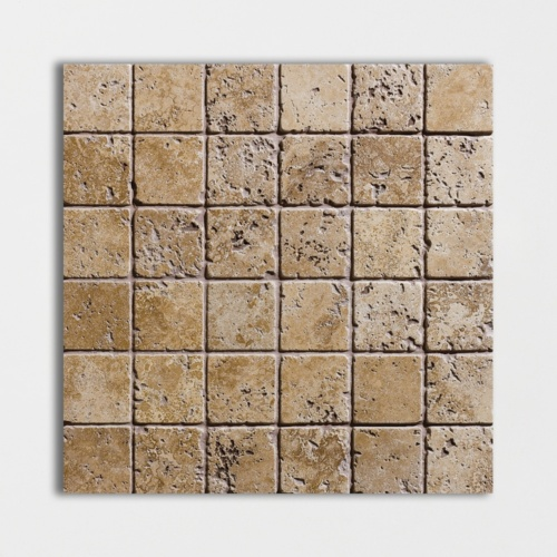 Walnut Dark Tumbled 2x2 Travertine Mosaics 12x12