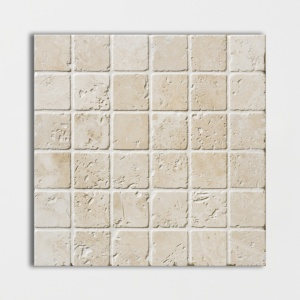 Ivory Tumbled 2x2 Travertine Mosaics 12x12