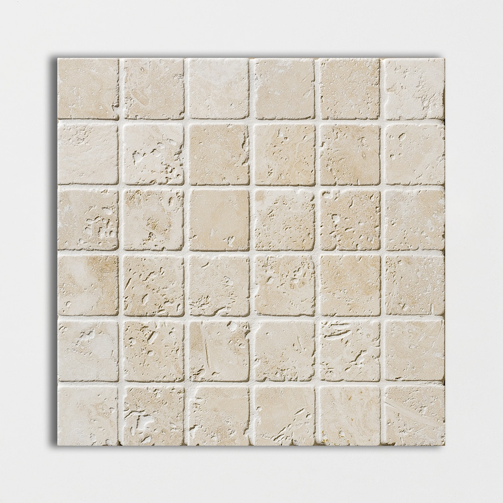 Ivory Tumbled 2x2 Travertine Mosaics 12x12 Marble System