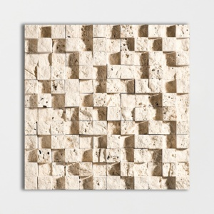 Ivory Rock Face 1x1 Travertine Mosaics 12 5/8x12 5/8