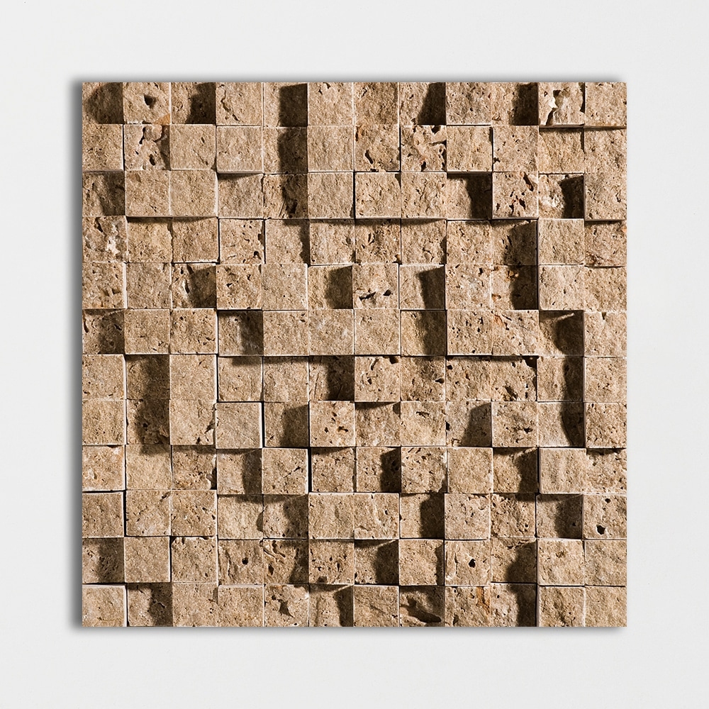 Walnut Dark Rock Face 1×1 Travertine Mosaics 12 5/8×12 5/8