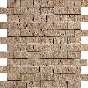 Walnut Dark Rock Face 1x2 Travertine Mosaics 12 5/8x12 5/8