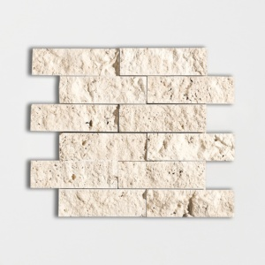 Ivory Rock Face 2x6 Travertine Mosaics 12x14