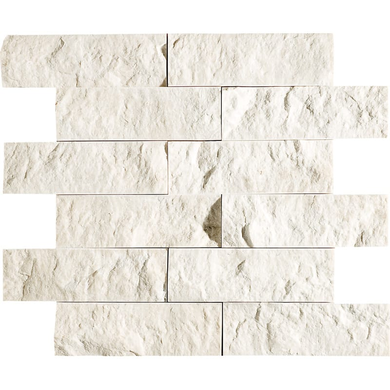 Desert Cream Rock Face 12x14 2x6 Marble Wall Mosaics