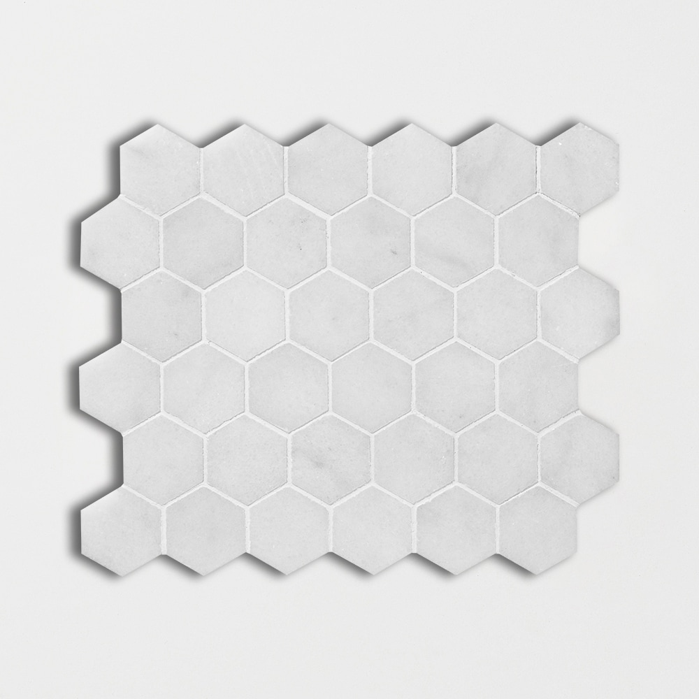 Glacier Honed 10 3/8x12 Hexagon Marble Mosaics
