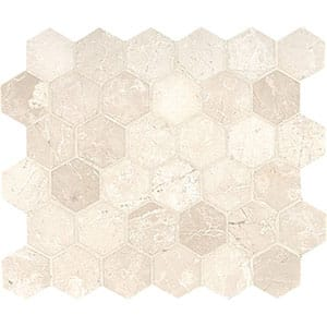 Delano Honed Hexagon Marble Mosaics 10 3/8x12
