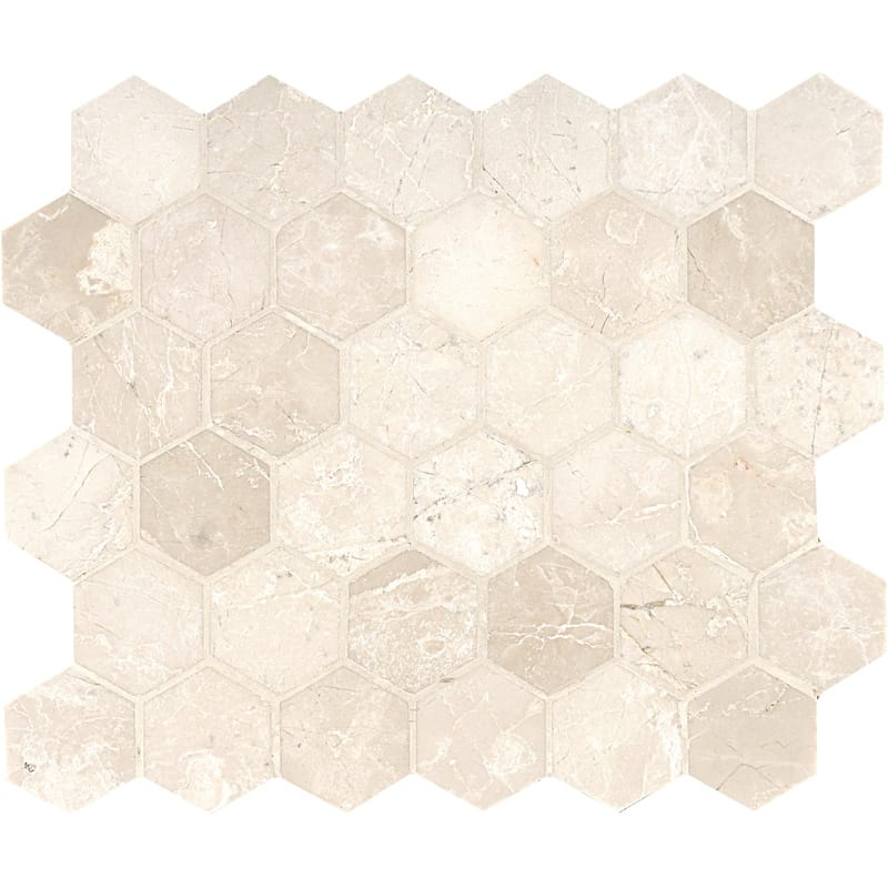 Delano Honed 10 3/8x12 Hexagon Marble Mosaics