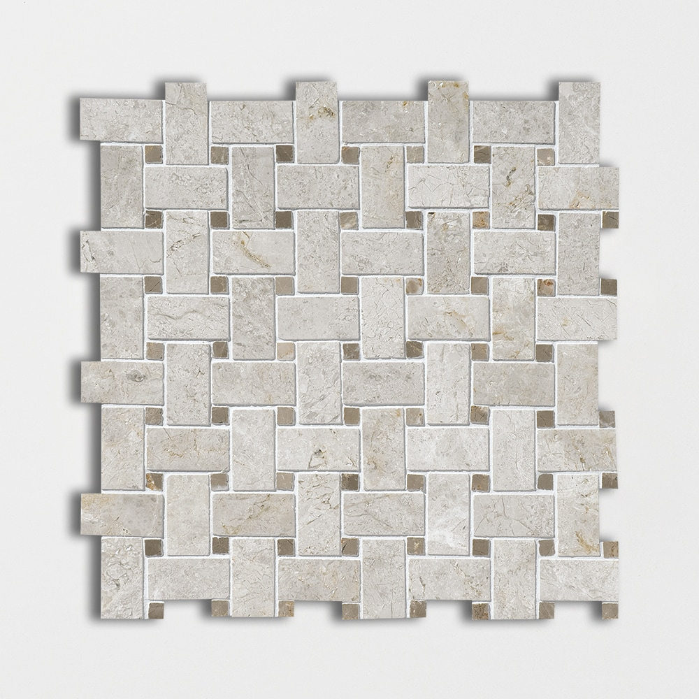 Silver Clouds Amp Tobacco Polished Basket Weave Marble Mosaics