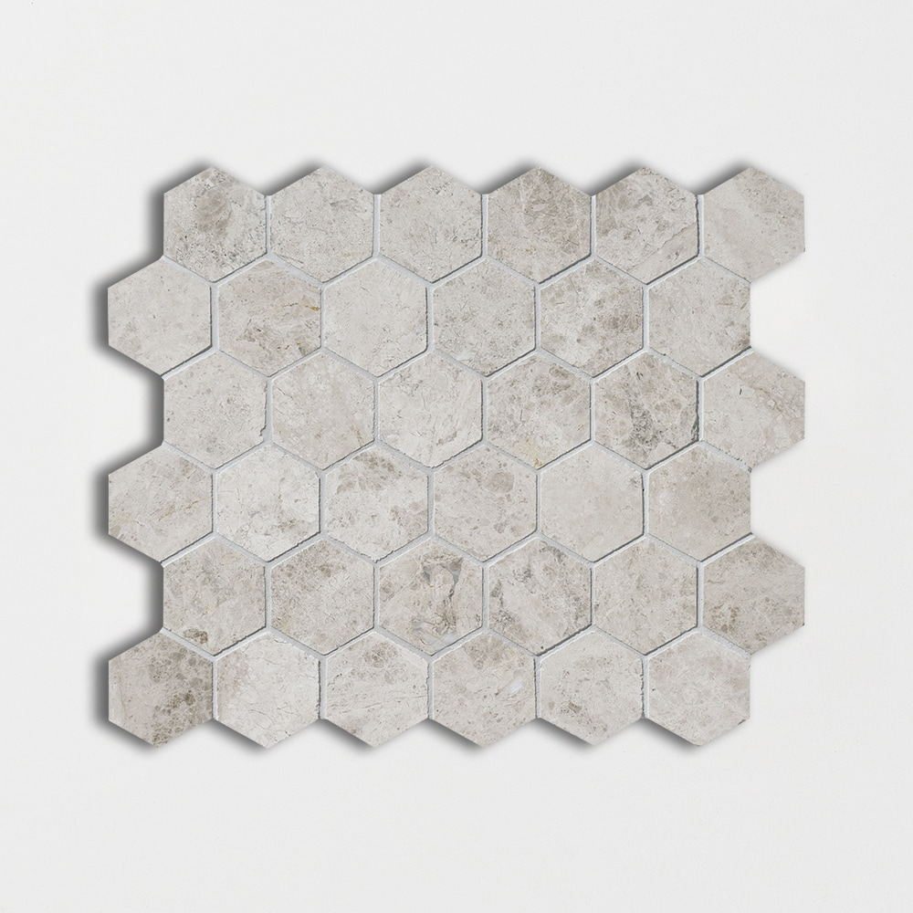 Silver Clouds Polished 10 3/8x12 Hexagon Marble Mosaics