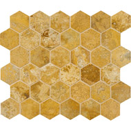 Golden Sienna Honed&filled Hexagon Travertine Mosaics 10 3/8x12