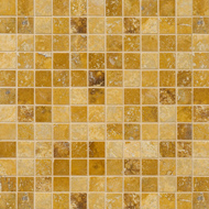 Golden Sienna Honed&filled 1x1 Travertine Mosaics 12x12
