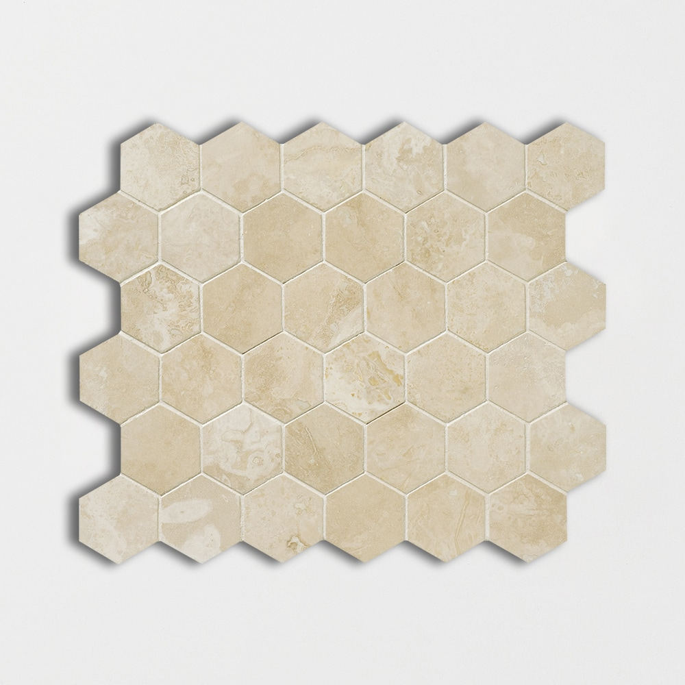 Ivory Honed Amp Filled Hexagon Travertine Mosaics 10 3 8x12