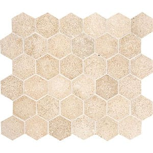 Seashell Honed Hexagon Limestone Mosaics 10 3/8x12