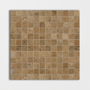 Walnut Dark Honed&filled 1x1 Travertine Mosaics 12x12