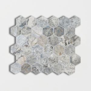 Silverado Honed&filled Hexagon Travertine Mosaics 10 3/8x12