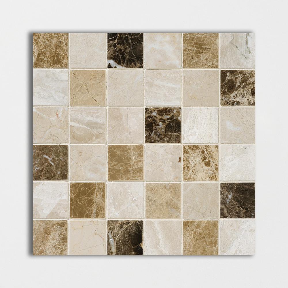Milano Dark Blend Polished 12x12 2x2 Marble Mosaics