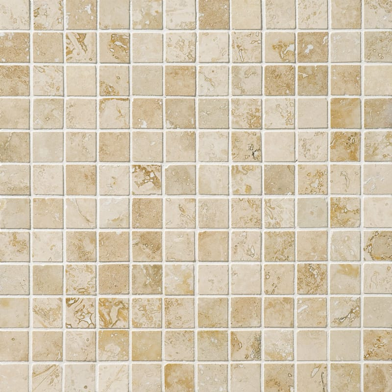 Canyon Honed Filled 1x1 Travertine Mosaics 12x12