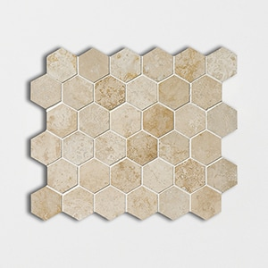 Canyon Honed&filled Hexagon Travertine Mosaics 10 3/8x12