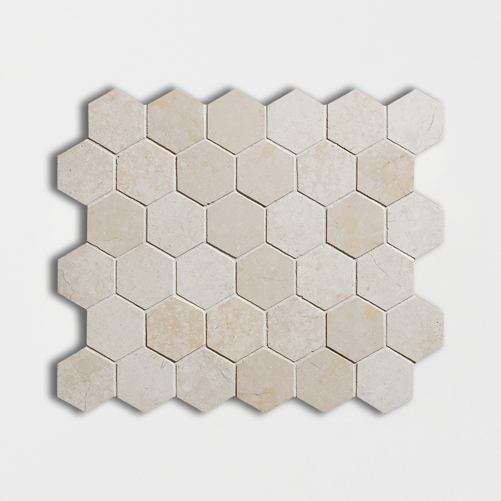 Alexander Cream Polished 10 3/8x12 Hexagon Marble Mosaics