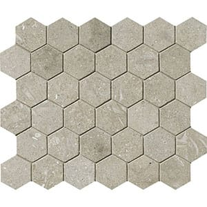 Olive Green Honed Hexagon Limestone Mosaics 10 3/8x12