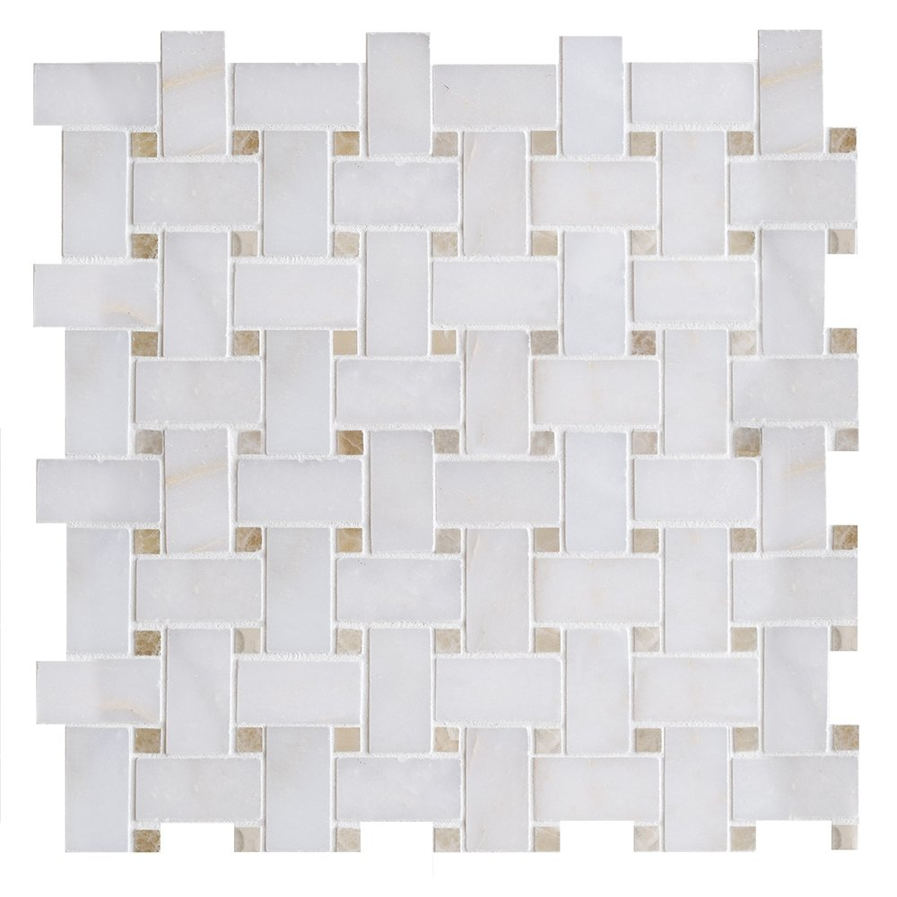 Afyon Sugar&honey Onyx Polished 12x12 Basket Weave Marble Mosaics