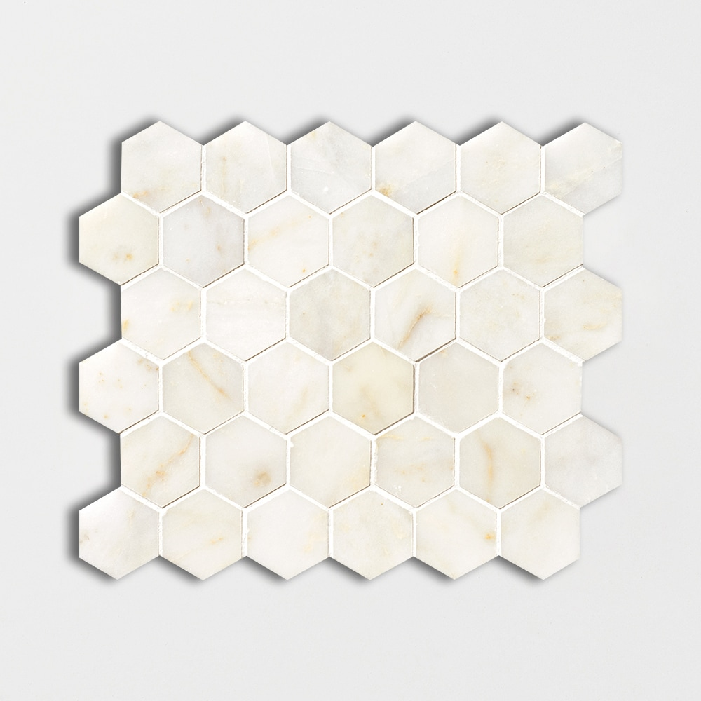Afyon Sugar Polished 10 3/8x12 Hexagon Marble Mosaics