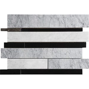 Black White Grey Polished Slides Marble Mosaics 11x17