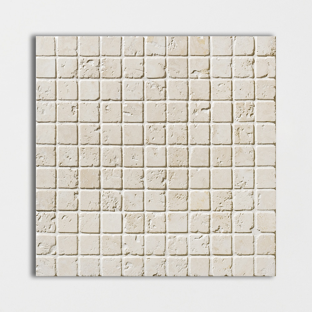 Ivory Tumbled 1x1 Travertine Mosaics 12x12