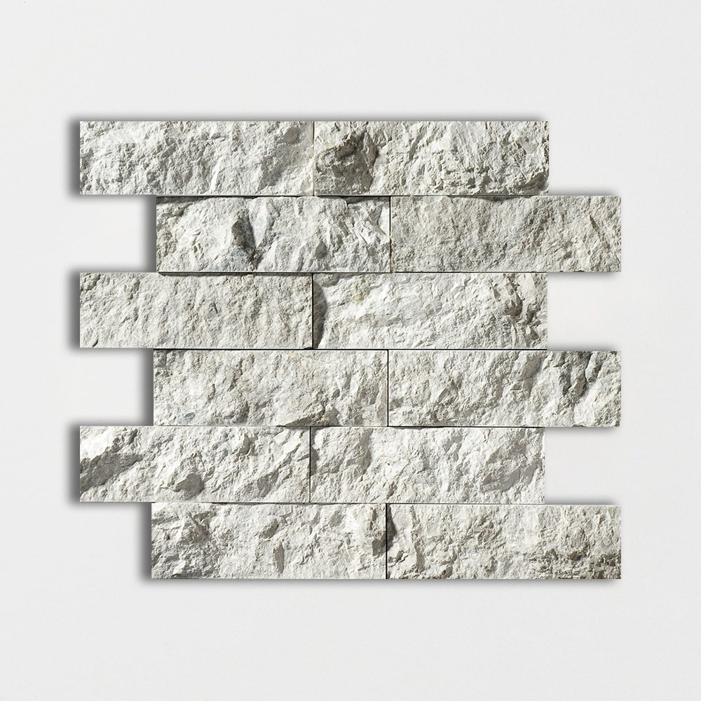 Silver Shadow Rock Face 12x14 2x6 Marble Wall Mosaics