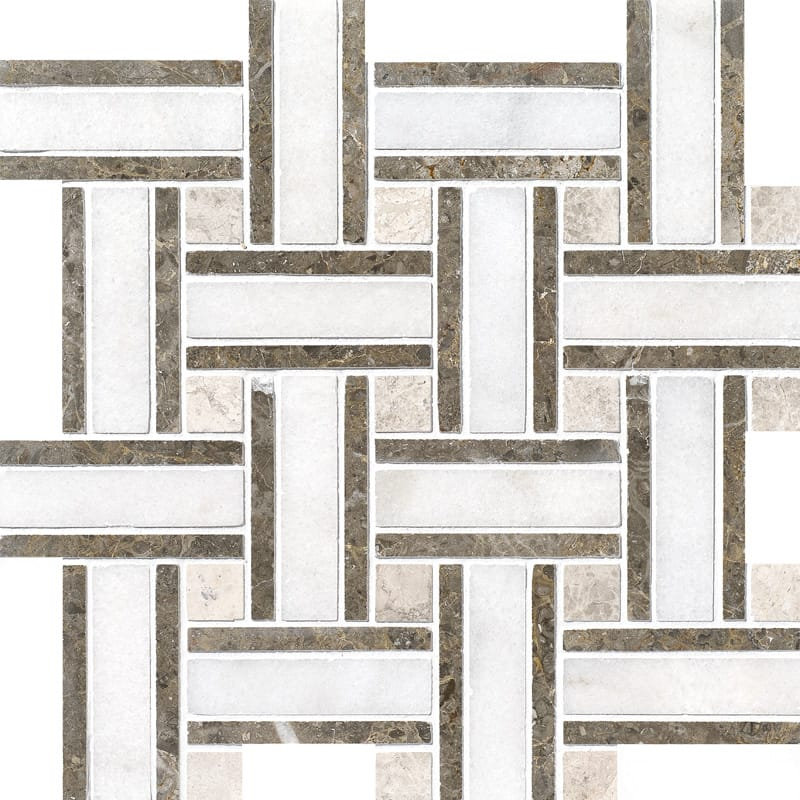 Avalon Polished 12x12 Lattice Marble Mosaics