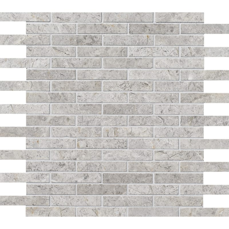 Silver Shadow Honed 5/8×3 Marble Mosaics 12×12