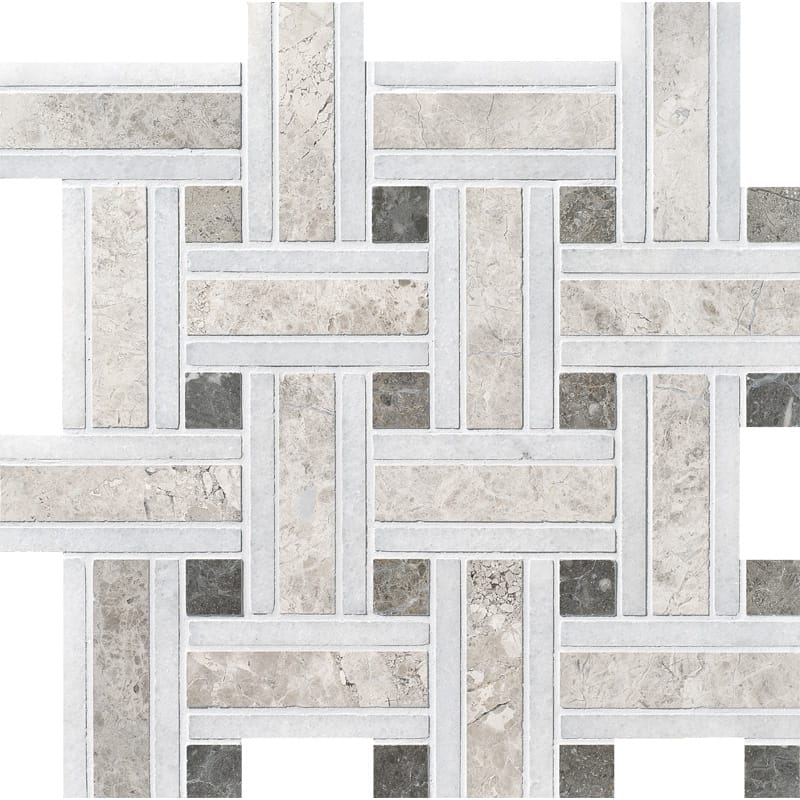 Silver Shadow Honed 12x12 Lattice Marble Mosaics