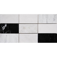 Black White Grey Polished Subway On Mesh Marble Mosaics 2 3/4x5 1/2