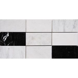 Black White Grey Polished Subway On Mesh 2 3/4x5 1/2 Marble Mosaics 8 1/2x16 3/4
