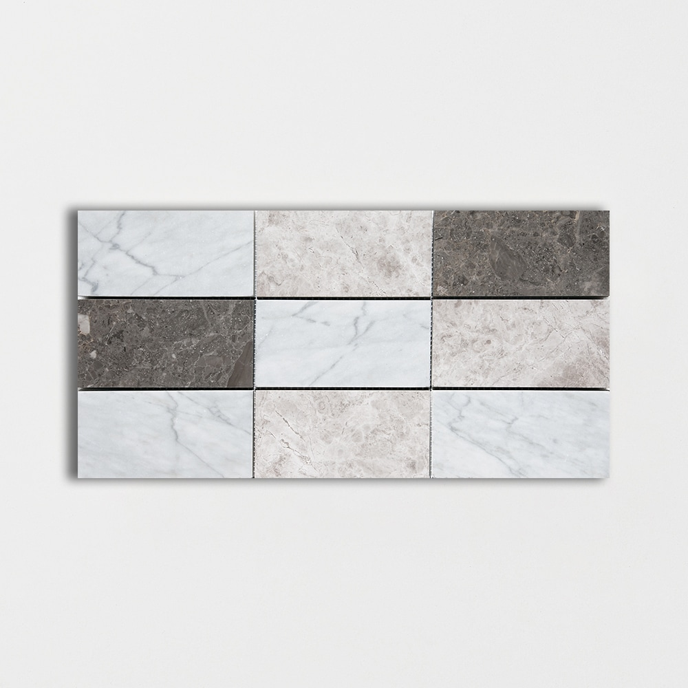 Massa Honed 8 7/16x16 11/16 Subway On Mesh Marble Mosaics