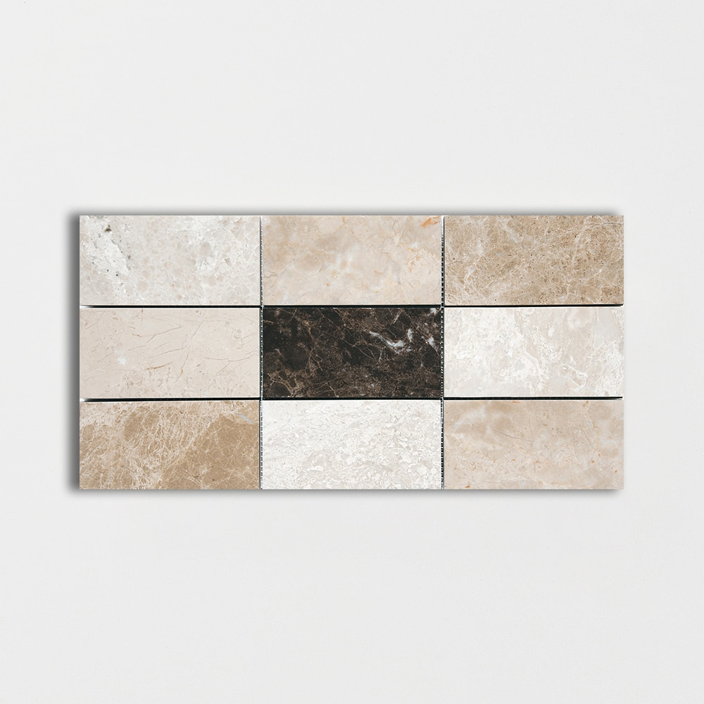 Milano Dark Polished 8 7/16x16 11/16 Subway On Mesh Marble Mosaics