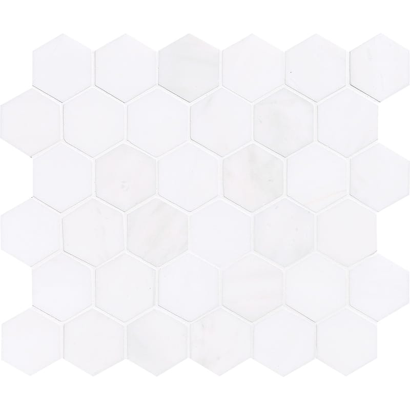 Snow White Polished 10 3/8x12 Hexagon Marble Mosaics