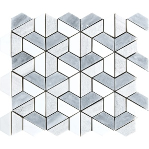 Multicolor Textured 3d Hexagon Marble Mosaics 10 3/8x12