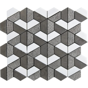 Bosphorus&show Whi Textured 3d Hexagon Marble Mosaics 10 3/8x12