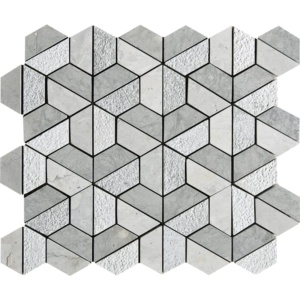 Britannia Blend Textured 3d Hexagon Limestone Mosaics 10 3/8x12