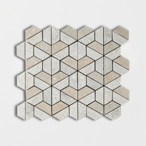 Olive Green Textured 3d Hexagon Marble Mosaics 10 3/8x12