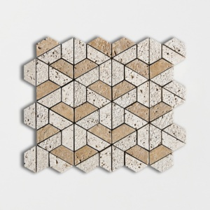 Walnut Dark Textured 3d Hexagon Travertine Mosaics 10 3/8x12