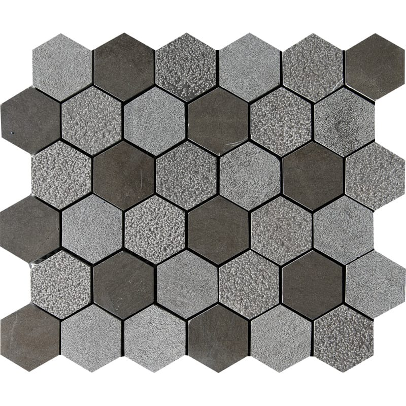 Bosphorus Textured Hexagon Limestone Mosaics 10 3/8×12