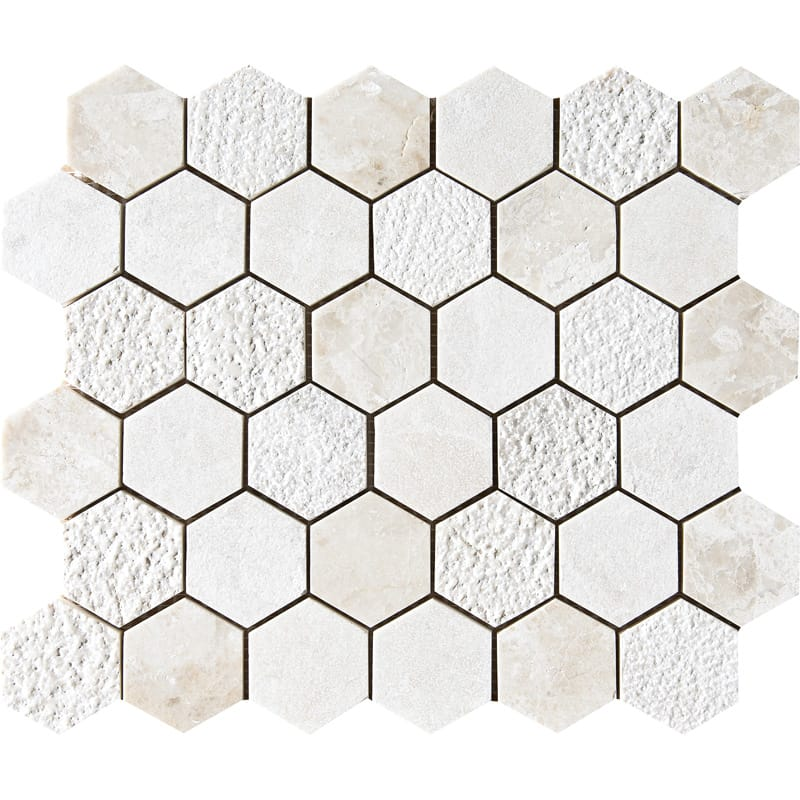 Diana Royal Textured 10 3/8x12 Hexagon Marble Mosaics