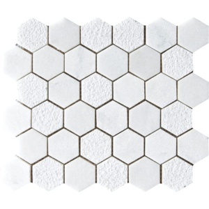 Glacier Textured Hexagon Marble Mosaics 10 3/8x12